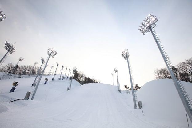 L'éclairage par projecteur Philips ArenaVision illuminant le Phoenix Snow Stadium aux Jeux olympiques d'hiver de Corée du Sud en 2018.